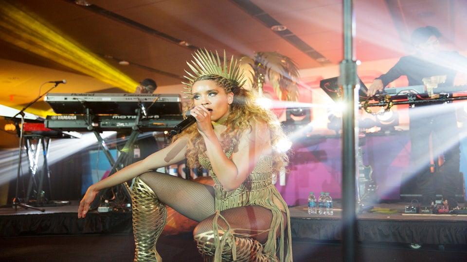 Lion Babe's Jillian Hervey Slays the ESSENCE Festival in Show-Stopping Gold Ensemble